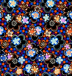 Seamless night floral pattern vector image