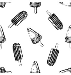 seamless pattern with black and white popsicle ice vector image