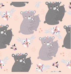 Seamless pattern with cute mom hugging baby bear vector