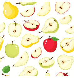 seamless pattern with pears and apples vector image
