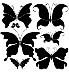 set black butterflies vector image