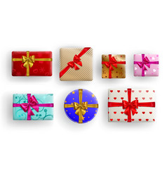 set gift boxes with bows vector image