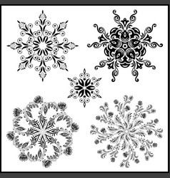 Set of five isolated mandalas black on white vector
