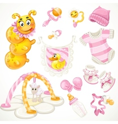 Set of pink baby toys objects clothes and things vector