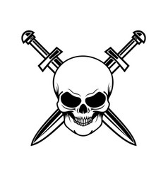 skull with crossed swords design element for logo vector image