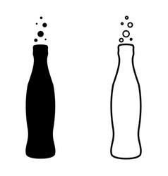soda bottle drink cola icon outline vector image