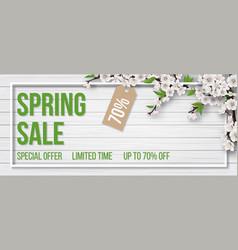 spring sale frame wood branch bloom vector image