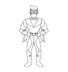 superhero character cartoon in black and white vector image