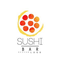 sushi bar logo design badge for sushi bar or vector image
