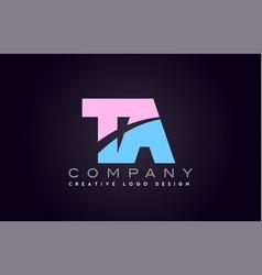Ta alphabet letter join joined letter logo design vector