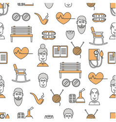 thin line art aged people seamless pattern vector image