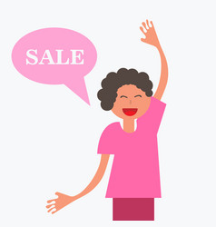 Thinking cloud with sale in flat style man vector