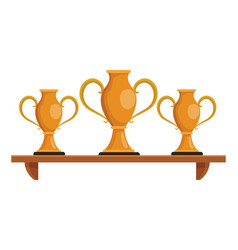 trophy cups on shelf vector image