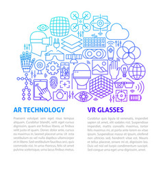 vr glasses line template vector image