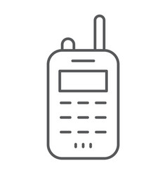 Walkie talkie thin line icon transmitter and vector
