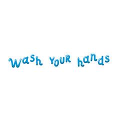Wash your hands soap bubble doodle lettering vector