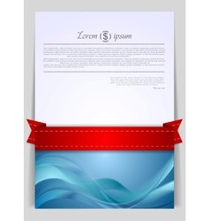 Wavy background flyer with red ribbon vector image