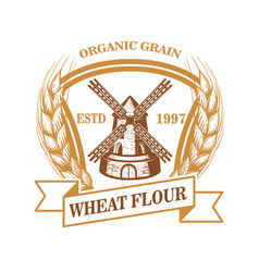 Wheat flour label template with wind mill design vector