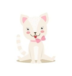 White Little Girly Cute Kitten With Bow Necklace vector image