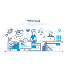 Workplace organization workflow tools for job vector