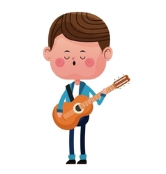 boy standing singing song guitar love vector image