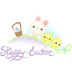 easter bunny and chickens on the easter egg hunt vector image