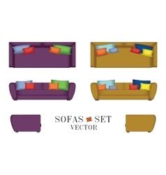 Sofas set furniture for your interior design vector