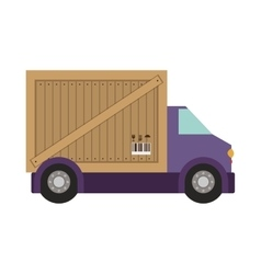 Transport truck with vagon of wooden box vector