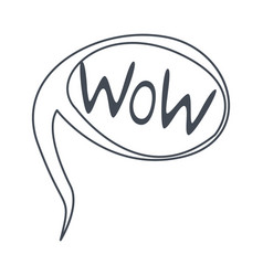 word wow hand drawn comic speech bubble template vector image