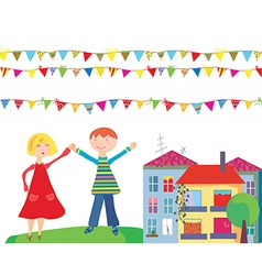 children flags vector image