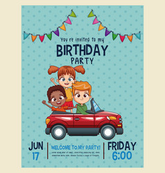 kids birthday invitation card vector image vector image