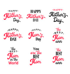 mothers day lettering calligraphy badges set vector image