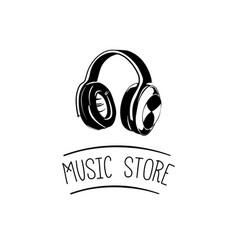 music headset logo design templateelement design vector image