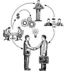 business cooperation concept hand drawn vector image vector image