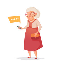 old woman with glasses with phone vector image vector image