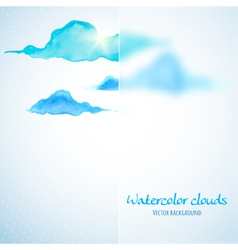 Watercolor clouds background with glass banner vector image