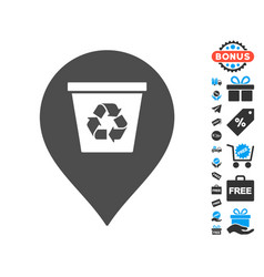 recycle bin marker icon with free bonus vector image vector image