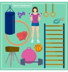 Set Sports Equipment Flat design sport concept vector image