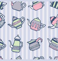 vintage tea pots seamless pattern vector image vector image