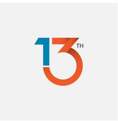 13 th anniversary template design vector