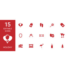 15 holiday icons vector