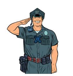 A good cop salutes police work vector