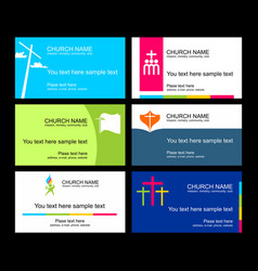 A set of business cards of the church vector
