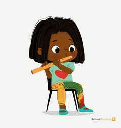 afro american girl with dreadlocks play on fife vector image