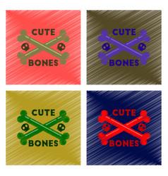 assembly flat shading style icon cross bones vector image