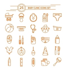 Baclinic linear icons set vector