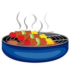 Barbeques cooked above the barbecue grill vector