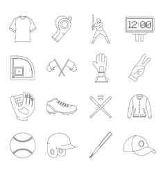 Baseball icons set simple style vector image