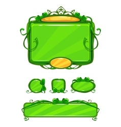 Beautiful girlish green game user interface vector image