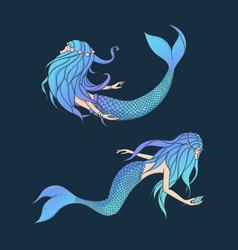 Beautiful mermaids set underwater creatures vector